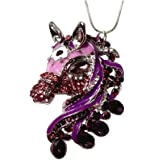 """DianaL Boutique Beautiful Horse Pendant Necklace 24"""" Chain Clear Purple Crystals Gift Boxed Fashion Jewelry"""