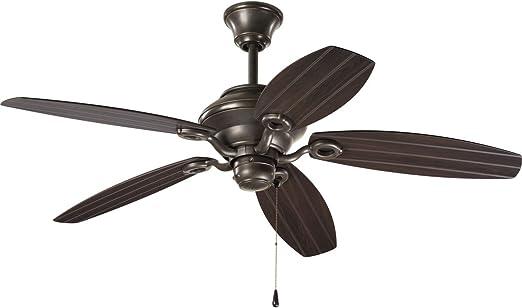 """Progressive Lighting 52/"""" Antique Bronze Downrod//Close Mount Indoor Ceiling Fan"""
