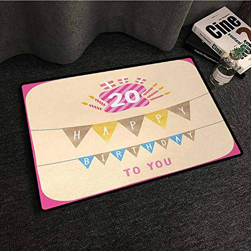 DILITECK Printed Door mat 20th Birthday Girly Party Themed with Cartoon Style Flags Cakes Boxes Image Anti-Fading W20 xL31 Pale Pink and Purple