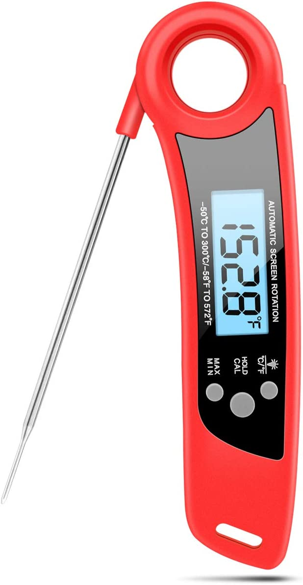 Nycetek Instant Read Meat Thermometer Waterproof Thermometer for Cooking Digital Food Thermometer for Grill, Kitchen, Candy, BBQ, Smoker, Outdoor, Probe, Oven Save - Red