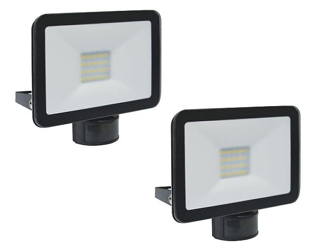 Juego de 2 LED Foco Negro con detector de movimiento, 10 W, 110 °