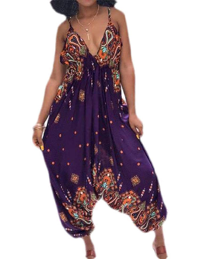 Fubotevic Womens Printed Baggy Loose Fit Deep V-Neck Spaghetti Strap Rompers Jumpsuit