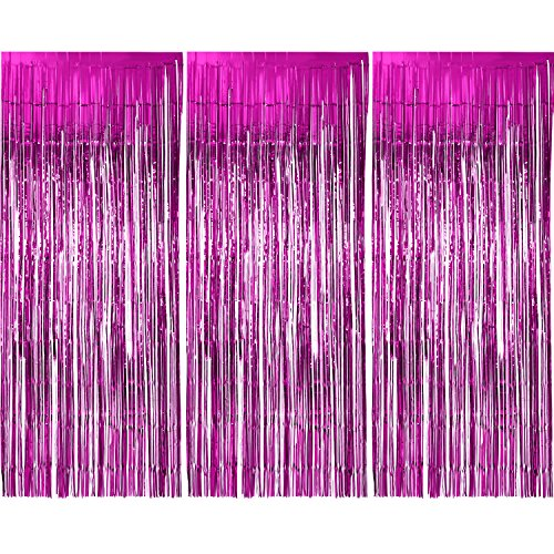 Sumind 3 Pack Metallic Tinsel Curtains, Foil Fringe Shimmer Curtain Door Window Decoration for Birthday Wedding Party (Rose Red)