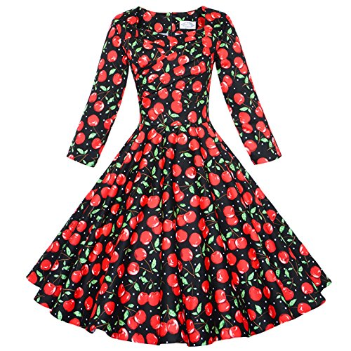 - Maggie Tang 50s Vintage Casual Party Cocktail Dress Long Sleeve Black Cherry XL