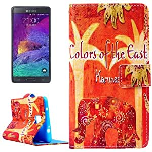 Elephant and Trees Pattern Horizontal con solapa Magnetic Buckle Leather Funda con Holder Case Cover & & Wallet bolsillos internos para Samsung Galaxy Note 4