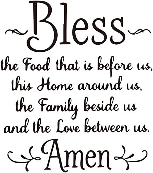 Amazon Com Vosarea Wall Sticker Bless The Food Home Family Love Amen Wall Art Inspirational Quotes For Home Home Kitchen
