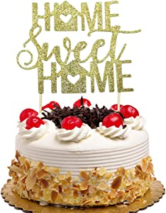 Home Sweet Home Cake Topper, New Home, Housewarming, Welcome Home Party Decorations Gold Glitter