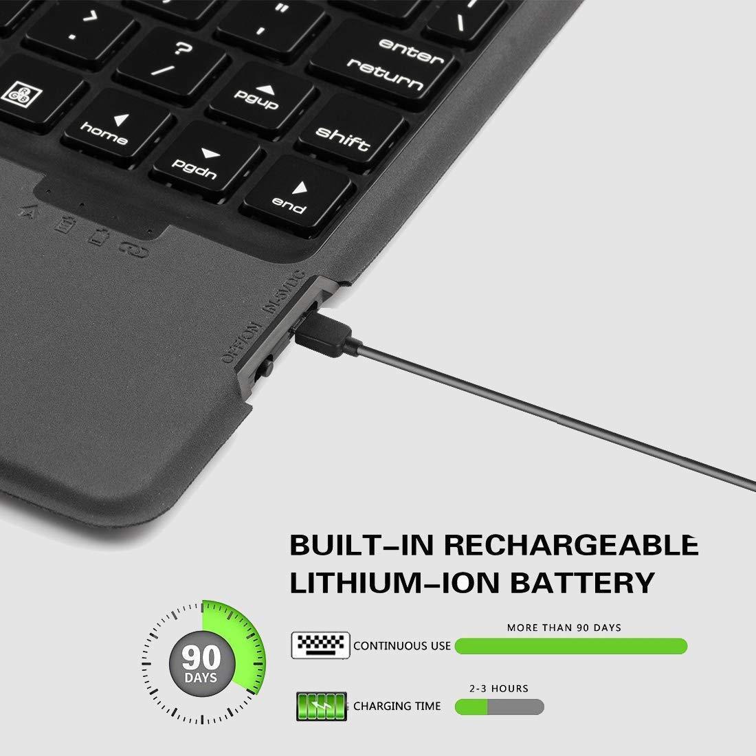 // 2018 // Air 2 // Air 1 // PRO 9.7 Tastiera Bluetooth 4.0 con retroilluminazione a 7 Colori e portamatite Sairain Custodia per Tastiera iPad Compatibile con iPad 9.7 2017