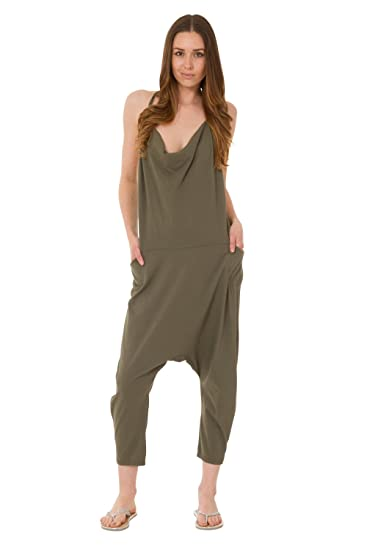 78abdc9ea9 Image Unavailable. Image not available for. Color: Wiya Jersey Jumpsuit -  Green Drop Crotch Lightweight Stretch Relaxed Fit Playsuit