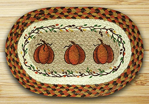 Oval Pumpkin - Earth Rugs 81-222HP Harvest Pumpkin Oval Printed Swatch Placemat, 10 by 15