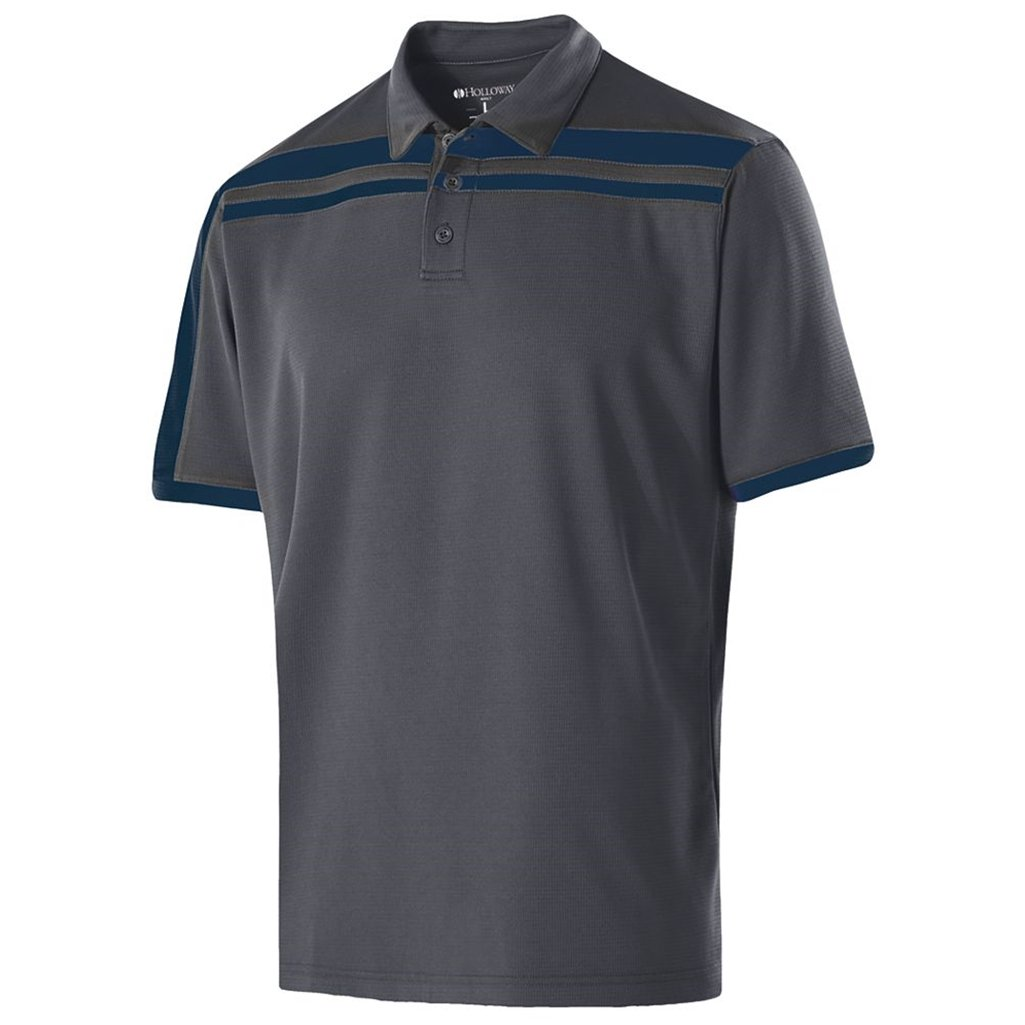 Holloway Dry-Excel Mens Charge Polo (XX-Large, Carbon/Navy) by Holloway