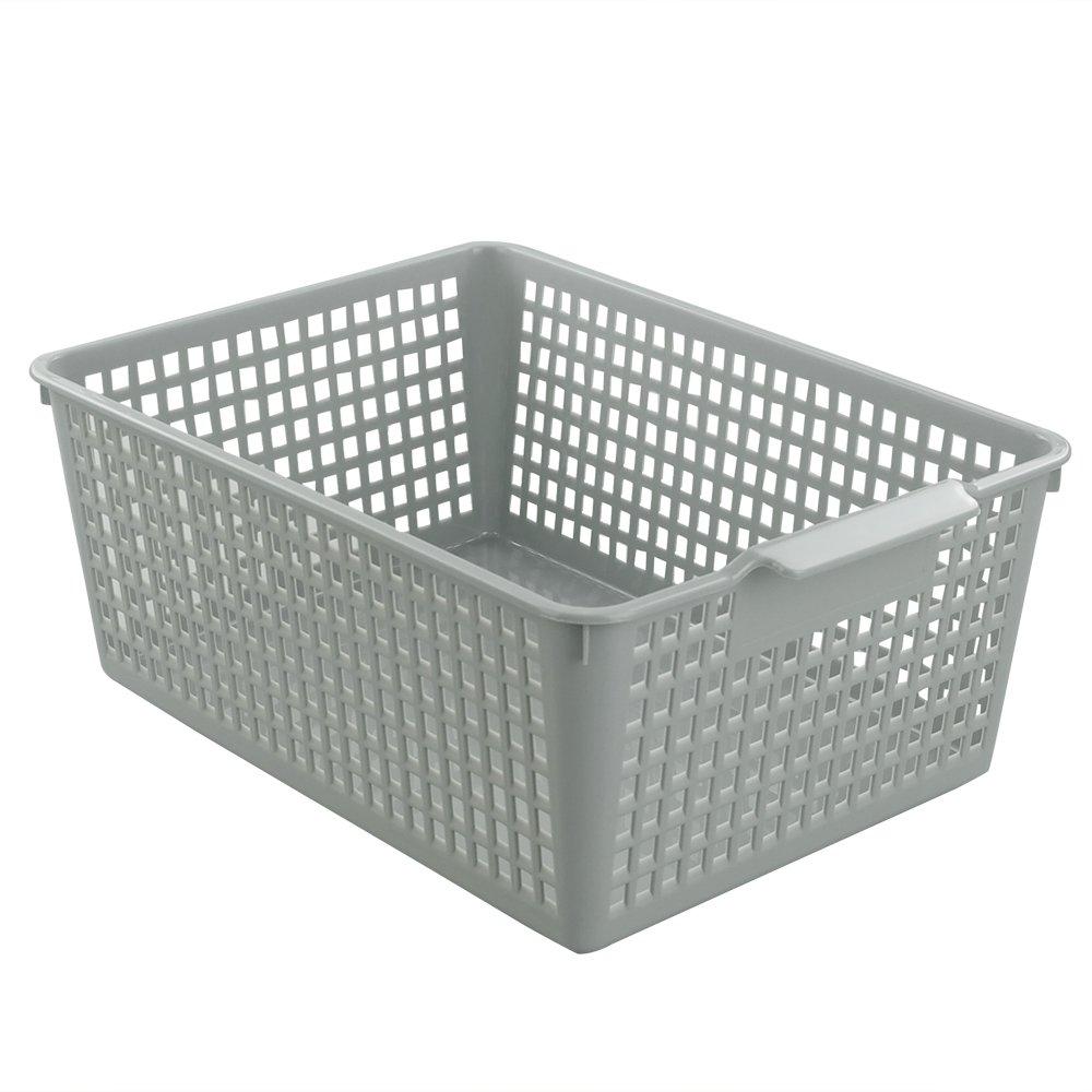 Wekiog Plastic Bins Basket for Office, Kitchen, Bathroom, Grey(3 Packs)