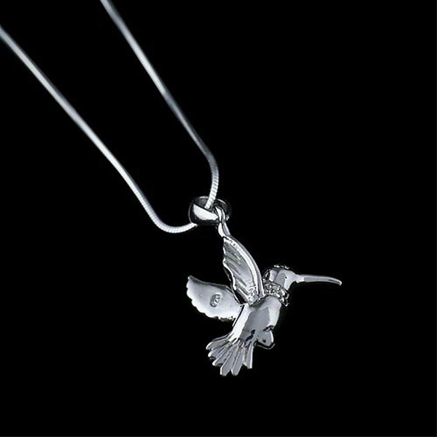 18 inch Snake Chain SHOPTOUSA 925 Sterling Silver Beautiful Hummingbird Nature Pendant Necklace