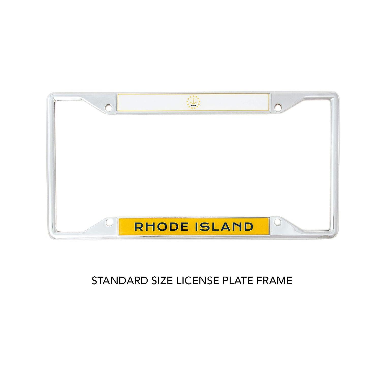 Desert Cactus State of Rhode Island Flag License Plate Frame for Front Back of Car Vehicle Truck