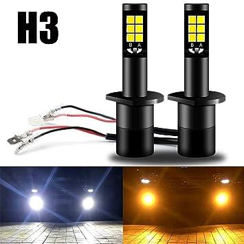 AMAZENAR H3 Bombillas de Luces Antiniebla LED Lámparas Antiniebla de Doble Color Equipos de Conversión Todo