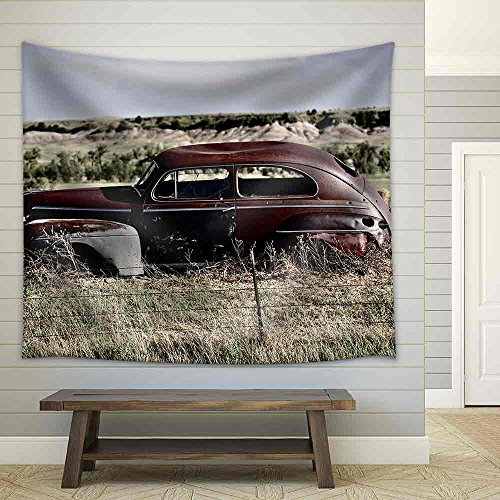 Clunker on Prairie near Pine Ridge Indian Reservation in South Dakota Abandoned Car in South Dakota Fabric Wall Tapestry