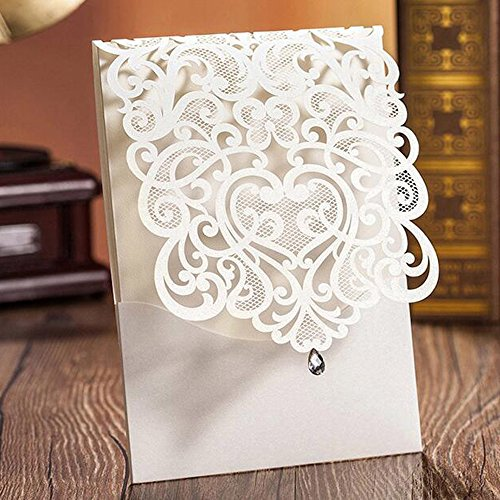 WOMHOPE 50 Pcs – Classics Vertical Wedding Invitation Hollow Laser Cut Lace Shimmer Party Invitations Cards Birthday Invitations Cards Wedding Favors (White)