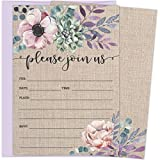 super why invitations - Rustic Burlap Invitations with Florals. 25 Lavender Envelopes and Fill in the Blank Invites for Bridal Showers, Baby Showers, Birthdays, Graduations, Christening, Baptism, Dinner Parties, Rehearsal Di