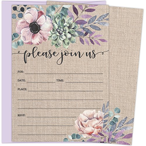 Rustic Burlap Invitations with Florals. 25 Lavender Envelopes and Fill in the Blank Invites for Bridal Showers, Baby Showers, Birthdays, Graduations, Christening, Baptism, Dinner Parties, Rehearsal Di