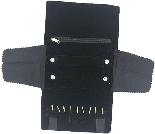 UnionPlus - Pequeño estuche enrollable organizador de joyas para viaje. Apto para collar , pulsera, aretes, anillo, color Borgoña: Amazon.es: Hogar