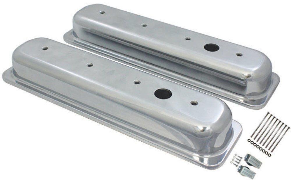 Chevy SB SBC Smooth Aluminum Short Center Bolt Baffled Valve Cover 5.0L-5.7L