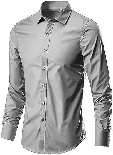 iYmitz Camisa Informal de Manga Larga de Popelina para Hombre, Mezcla de algodón, Camisa de bambú Ajustada, Manga Larga, elástico, Formal, Casual, sólida, con Botones, para Hombres, 15 Colores: Amazon.es: Ropa y