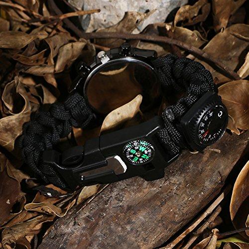 Survie paracord Bracelet de survie d'urgence, Hommes & Femmes horloge avec/Sifflet/Allume-feu/grattoir/Boussole et… 4