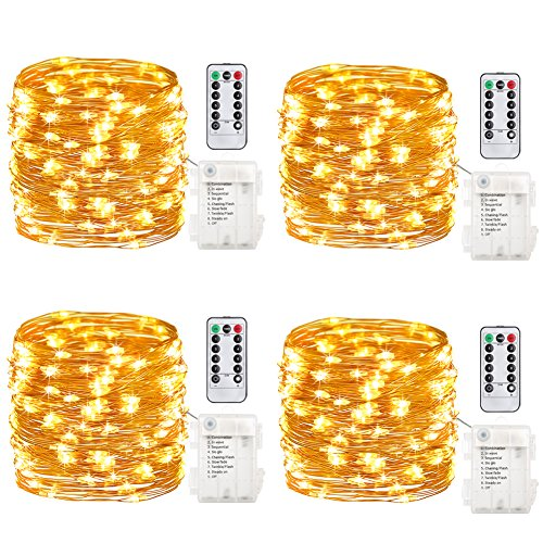 GDEALER 4 Pack Fairy Lights Fairy String Lights Battery Operated Waterproof 8 Modes 50 LED 16.4ft String Lights Copper Wire Firefly Lights Remote Control Christmas Decor Christmas Lights Warm White (Lights Timer String With)