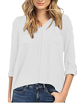 87d74fc86c Auxo Women s Summer Casual V Neck Pocket Long Fold Sleeve Cotton Irregular  Shirt Blouse Tops White