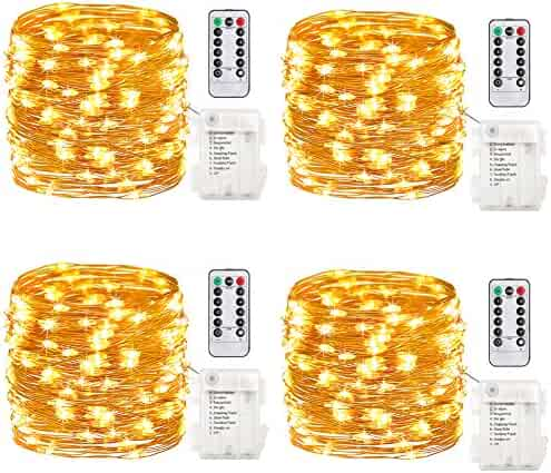 GDEALER 4 Pack Fairy Lights Halloween String Lights Battery Operated Waterproof 8 Modes Remote Control 50 Led String Lights 16.4 Ft Copper Wire lights for Bedroom Wedding Christmas Decor Warm White