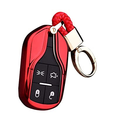 Royalfox(TM Luxury Soft TPU Smart 4 Buttons Key Fob case Cover for Maserati Levante GT Quattroporte Ghibli (red): Electronics [5Bkhe1503626]