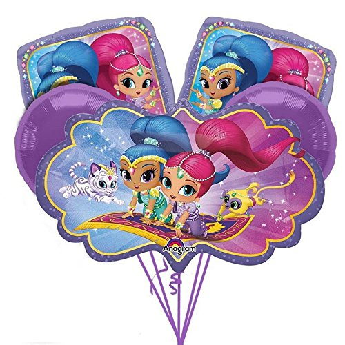 Shimmer and Shine ~ 5 Mylar Foil Balloon Bouquet ~ Birthday Party Decorations from Unbranded