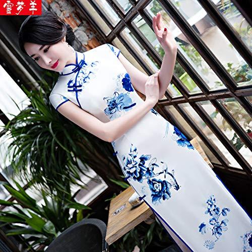 Quotidiano Bianca Migliorato Primavera Lungo Cheongsam Vestito Auto Abito E Incontro coltivazione Xl Annuale Porcellana Blu Bingqz Retrò Nuova F0BqznY