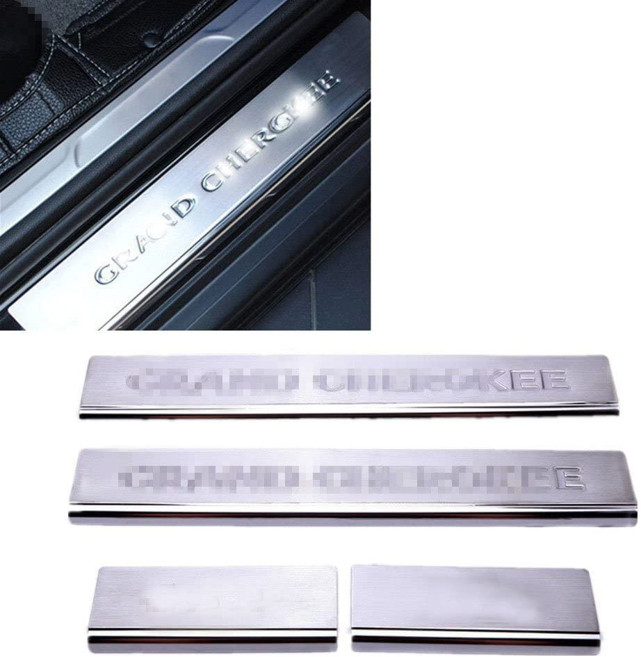 Nicebee 4pcs Stainless Steel Door Front /& Rear Sill Entry Guard Bars Protection for Jeep Grand Cherokee 2011-2016 with Jeep Logo