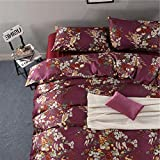 Pottery Barn Duvet Covers Eikei Shabby Chic French Country Garden Floral Duvet Quilt Cover by, Colorful Blossom Fruit Print Reversible Cotton Bedding Set Cottage Style Blooming Orchard Meadow Flowers (Queen, Burgundy)