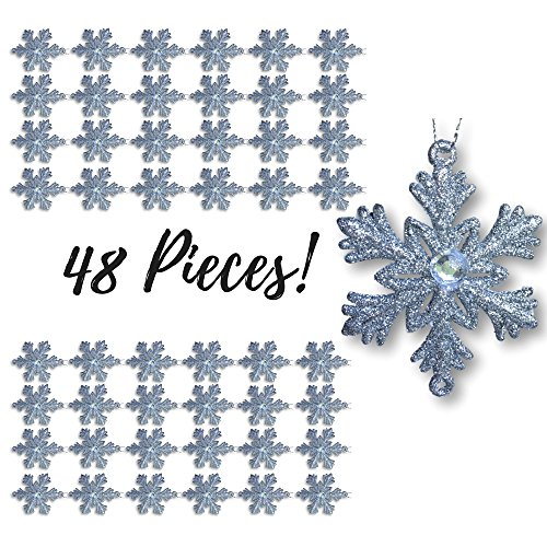 Silver Snowflakes - Set of 48 Small 2 ½