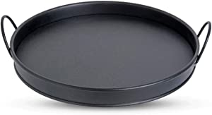 Galvanized Metal Tray , Black Metal Round Serving Tray with Handles, Office Tray, Party Tray, Wedding Tray, Spa Serving Tray, Vintage Tray, Rustic Tray , Organizer for Kitchen and Bathroom ( Medium )