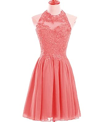 Ladsen Halter Lace Sheer Neck Prom Dresses Short Beaded Homecoming Gowns L252