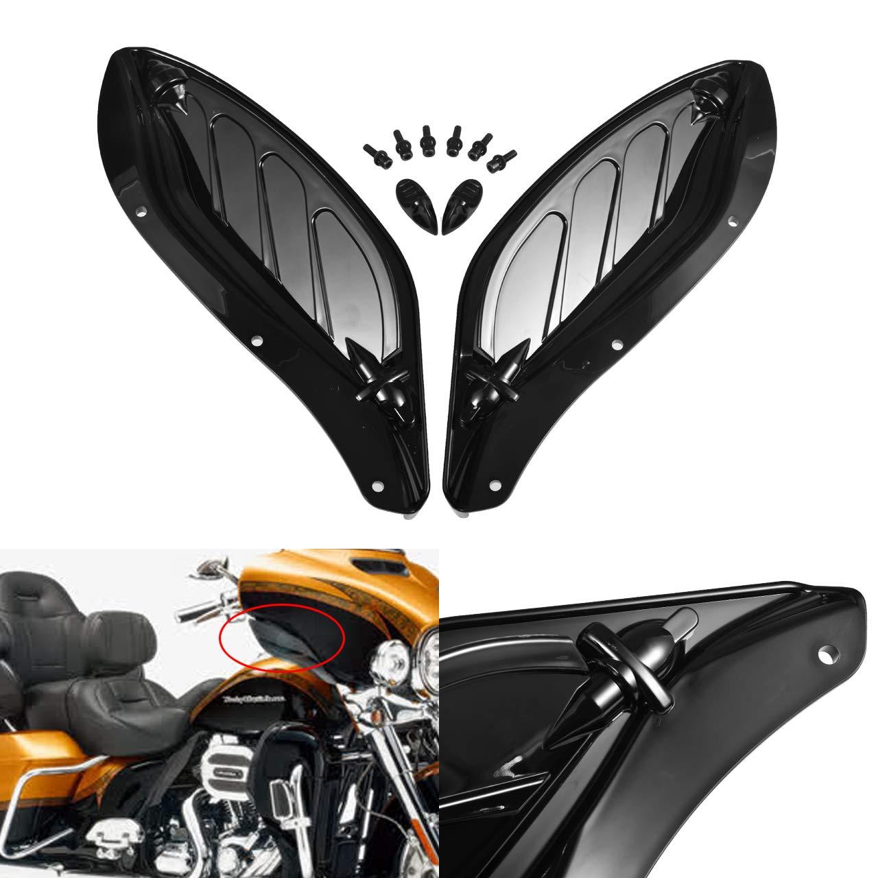 NATGIC Deflettore dAria Laterale per Moto New-Black in plastica ABS per Harley Touring 96-13 Regolabile
