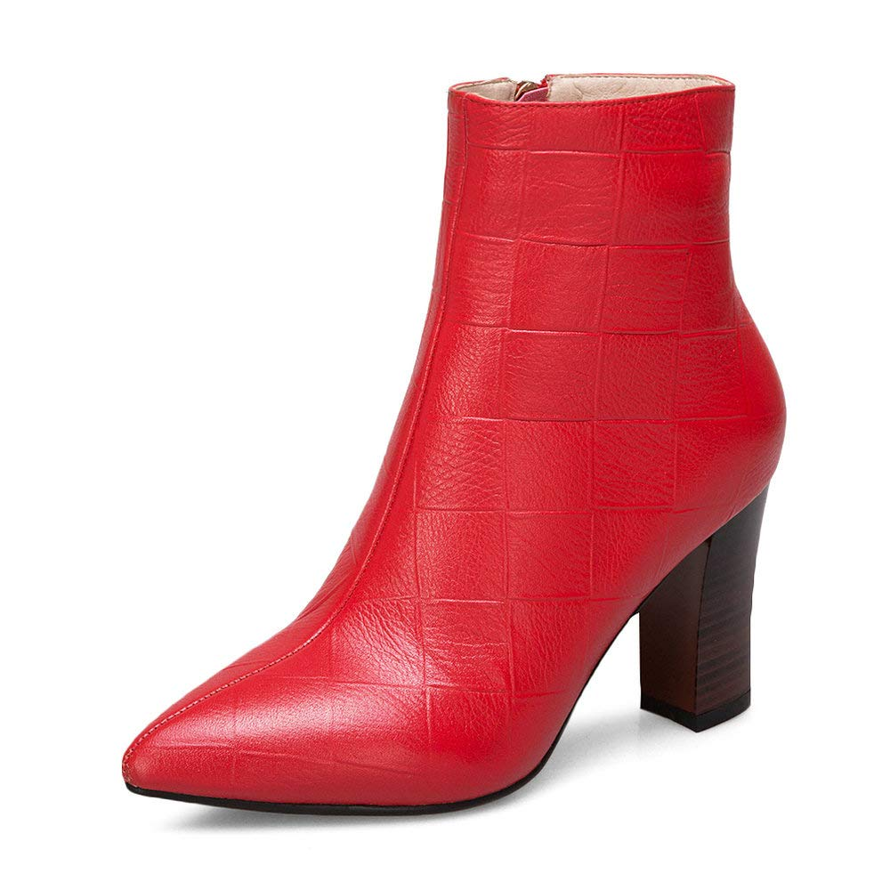 Red AnMengXinLing Fashion Ankle Boot Women Retro Genuine Leather Stacked High Heel Pointed Toe Side Zipper Cowboy Martin Boot Winter shoes