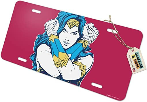 1x Wonder Woman Comics Printed Aluminum Composite Car License Plate Frame