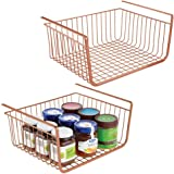 mDesign Household Metal Under Shelf Hanging Storage Bin Basket with Open Front for Organizing Kitchen Cabinets…