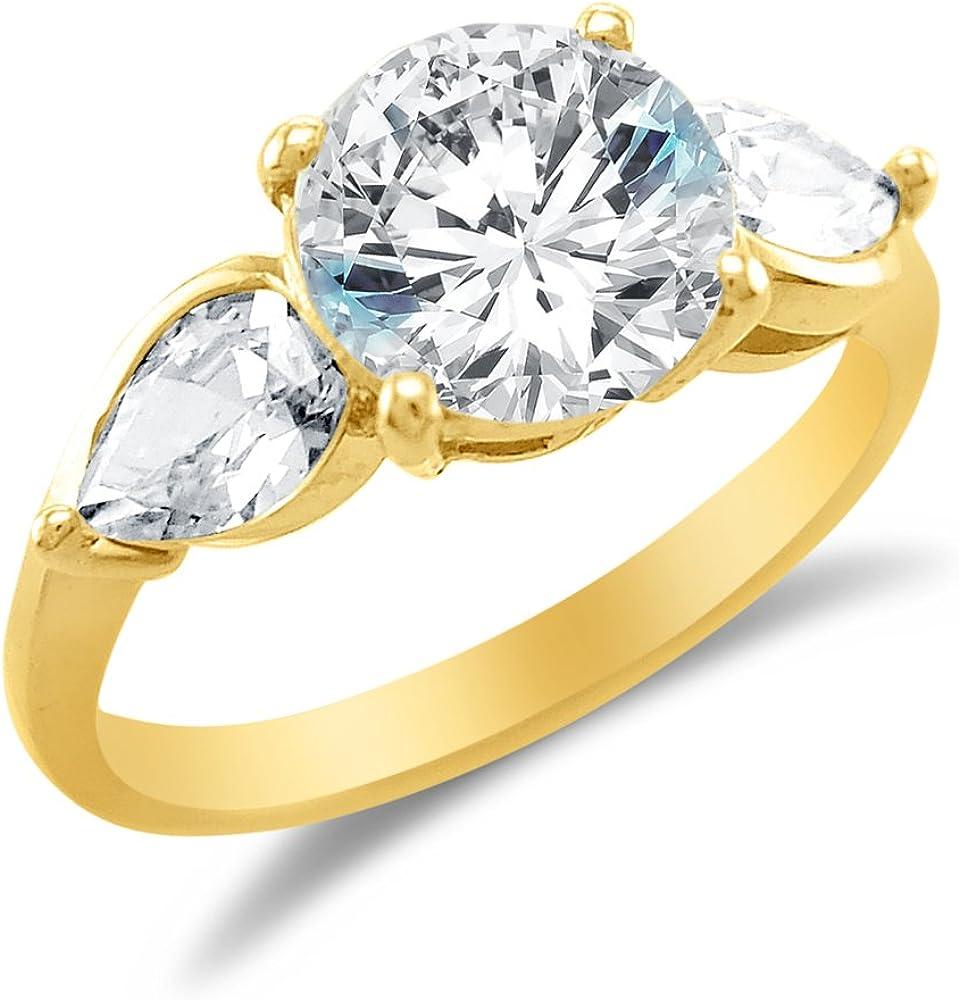 FB Jewels 14K Yellow Gold Crown Cubic Zirconia CZ Fashion Anniversary Ring