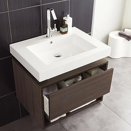 Hudson Reed pared 700 mm Ancho roble mueble de baño con lavabo ...