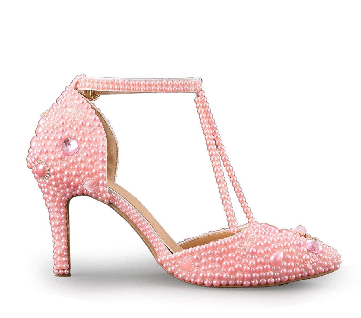 Qiusa T-Bügel-Perle der Frauen die die die Braut-Rosa-Hochzeits-Leistungs-Schuhe Großbritannien 2 bördelt (Farbe   - Größe   -) a8d143