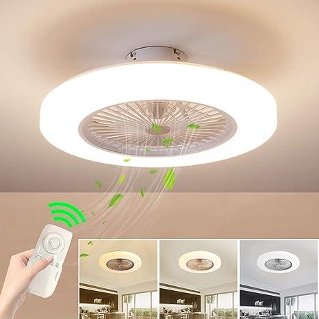 Ventilador de techo con lámpara, Ventilador de techo con luces LED, 3 Velocidades, 3 colores regulables, con control remoto, 36W Lámpara de techo para ...