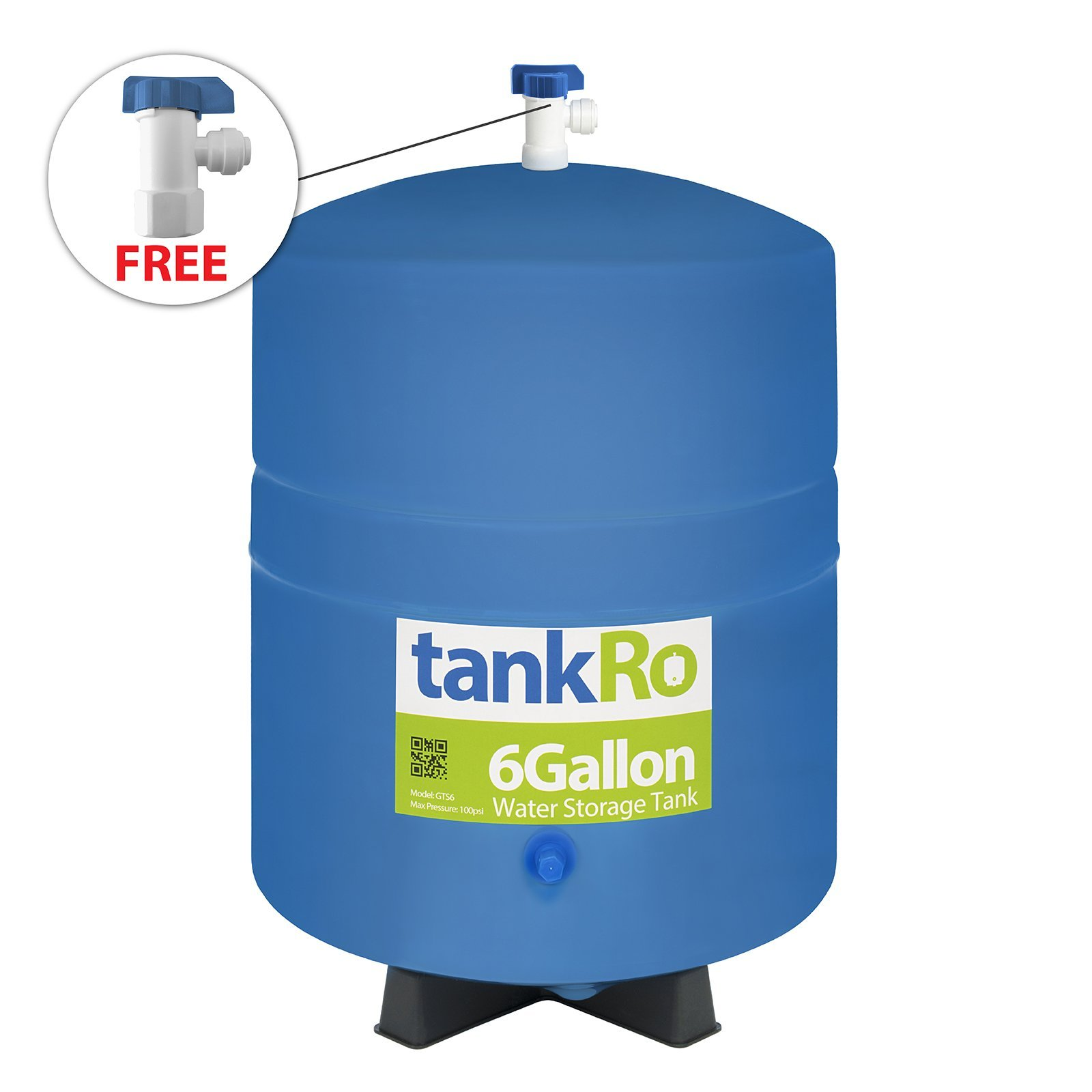 tankRo 6 Gallon RO Expansion Tank – Compact Reverse Osmosis Water Storage Pressure Tank by with FREE Tank Ball Valve