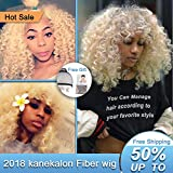 Short Blonde Curly Synthetic Hair Wigs forBlack Women Andromeda Soft Fluffy Big Curls Hair Wig Loose Curly AfricanAmerican Costume Cosplay Cheap Half Wigs + 1 Free Wig Cap