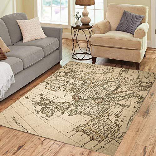 18th Century Rugs - Pinbeam Area Rug 18Th Antique Old Map Europe Century Continent European Home Decor Floor Rug 2' x 3' Carpet