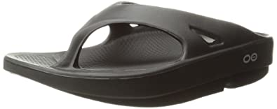 OOFOS Unisex Original Thong flip flop , Black, 5 B(M) US Women